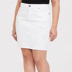 Torrid White Denim Mini Skirt